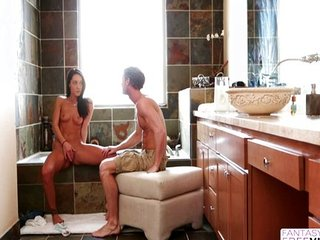 gran follada con su novio en la ducha